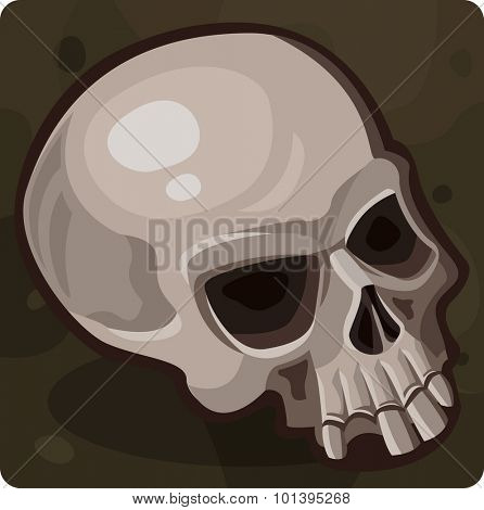 Human evil skull. Vector illustration