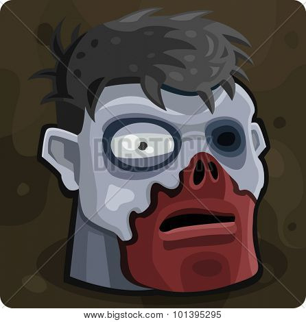 Blue zombie head. Vector illustration