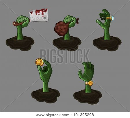Five cartoon zombie hands. Vector illustration