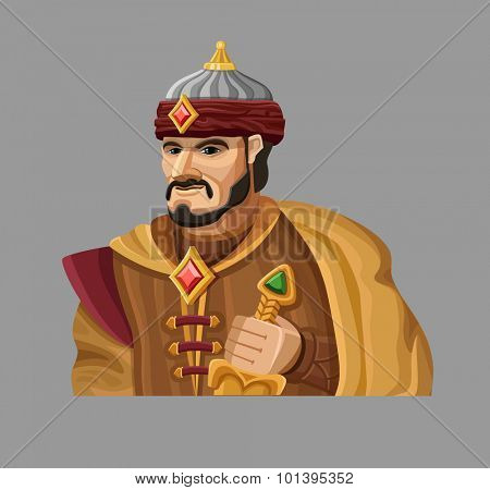 Cartoon Sultan in gold. Vector illustration