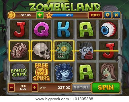 Zombie slots game. Vector illustration