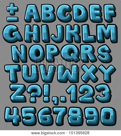 Blue cartoon alphabet. Vector illustration