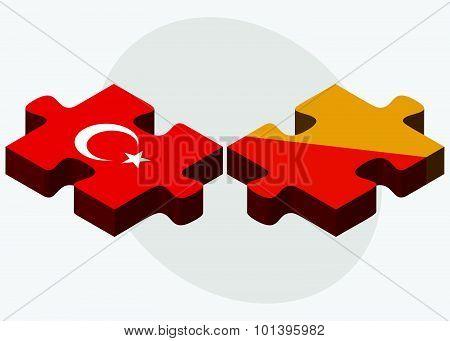 Turkey And Bhutan Flags