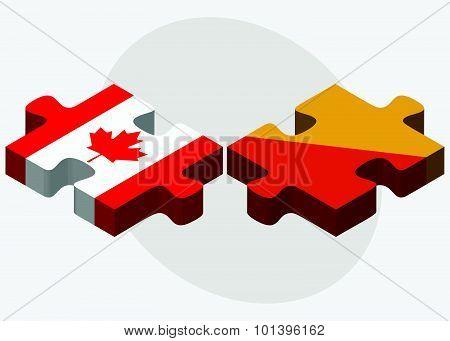 Canada And Bhutan Flags