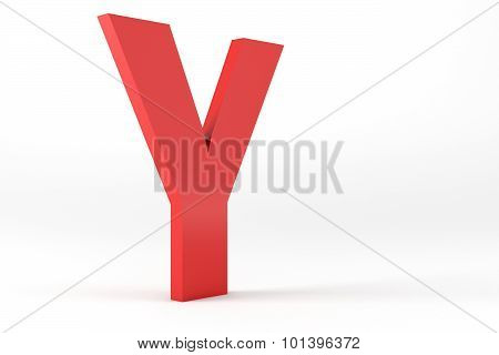Isolated Red Letter Y