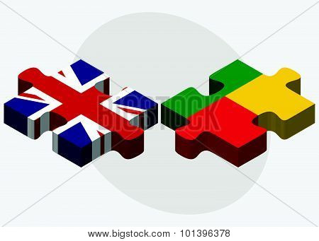 United Kingdom And Benin Flags