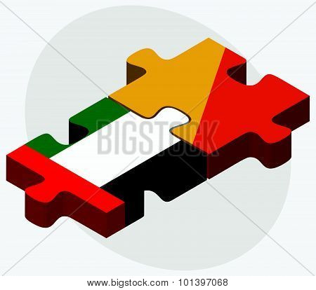 United Arab Emirates And Bhutan Flags