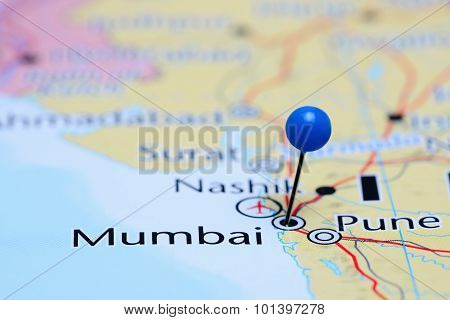 Mumbai pinned on a map of Asia