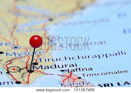 Madurai pinned on a map of Asia