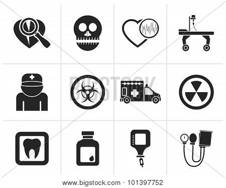 Black Medicine and hospital equipment icons