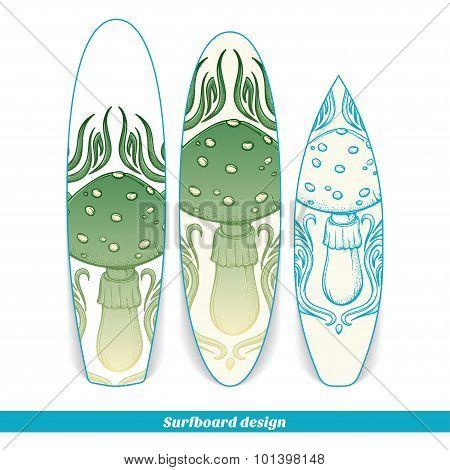 Surfboard Design Abstract Mushroom