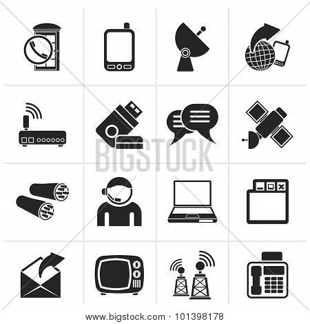 Black Communication, connection and technology icons