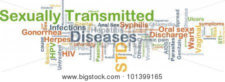 Background concept wordcloud illustration of sexually transmitted disease STD
