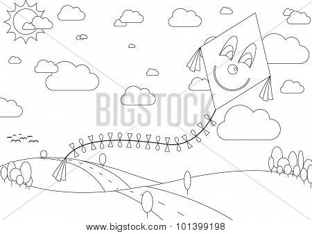 Coloring Book With Autumn Landscape With Kite During Sunny Day