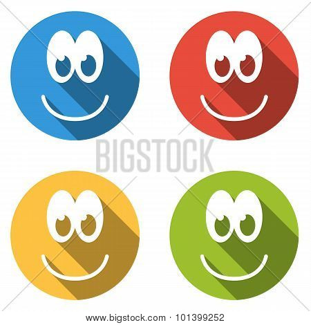 Collection Of 4 Isolated Flat Colorful Icon Emoticons With Smile