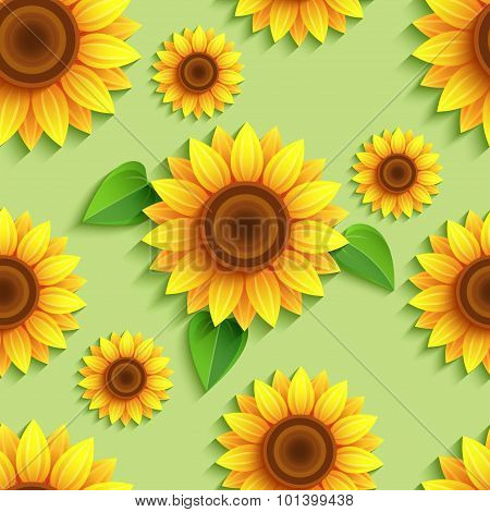 Floral Green Seamless Pattern With 3D Sunflowers