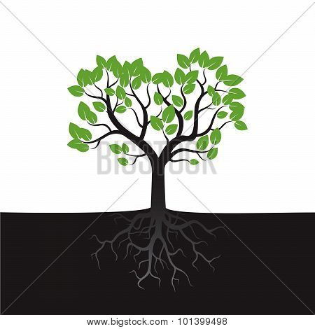 Black Vector Tree And Green Leafs