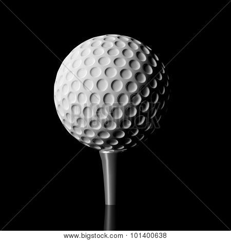 Golf ball on a tee, isolated on black background