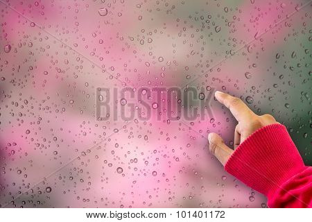 Water Drops On Blur Red Background