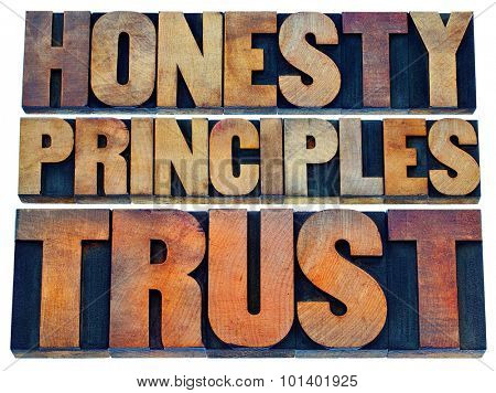 honesty, principles and trust word abstract - isolated text in vintage letterpress wood type