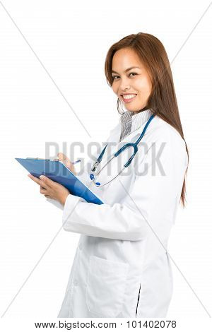 Female Asian Doctor Smiling Writing Side At Half