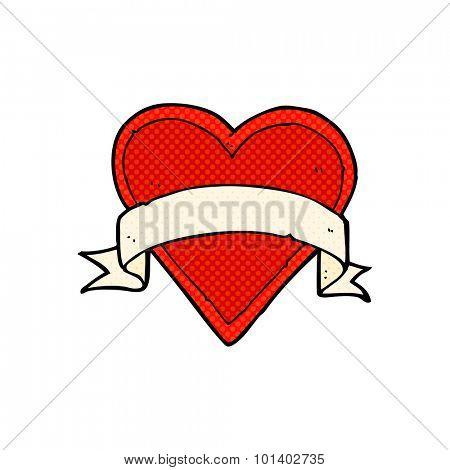 comic book style cartoon love heart tattoo