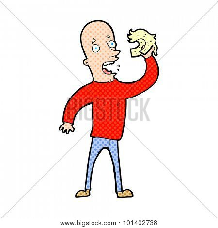 comic book style cartoon bald man with wig