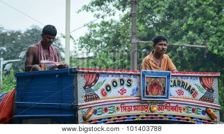 Indian People On The Local Bus In Delhi