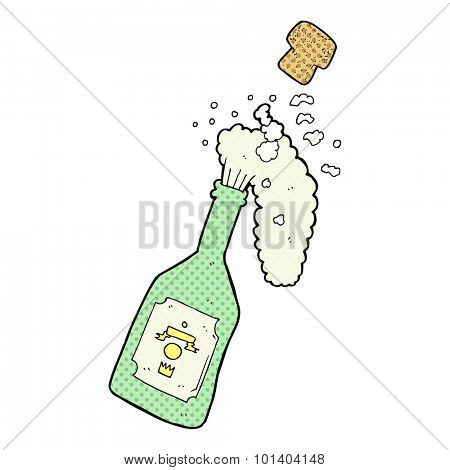 comic book style cartoon champagne popping