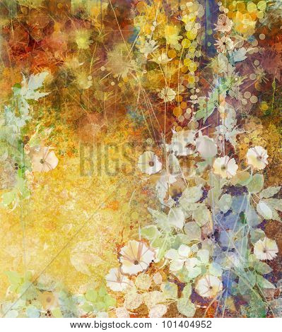 Watercolor Painting White Flowers And Soft Green Leaves. Yellow-brown Color Texture On Grunge Paper