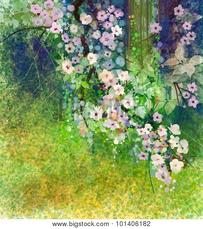 Watercolor painting flowers and soft green leaves for background