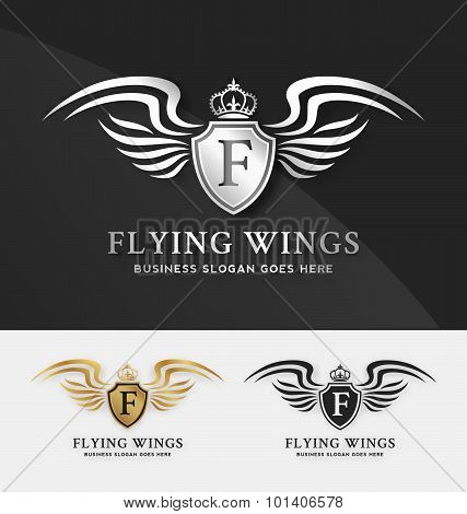 Shield And Wings Logo Template.