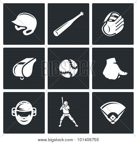Baseball Icons Set. Vector Illustration.