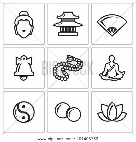 Buddhism Icons Set. Vector Illustration.