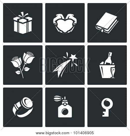 Gifts For Women On Holiday Icons Set. Vector Illustration.