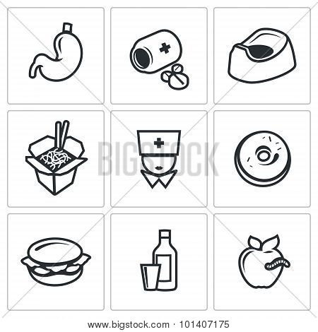 Food poisoning icons set. Vector Illustration. Isolated Flat Icons collection on a white background for design