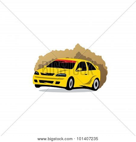 Rally Sign. The Racing Car In The Dust. Vector Illustration.