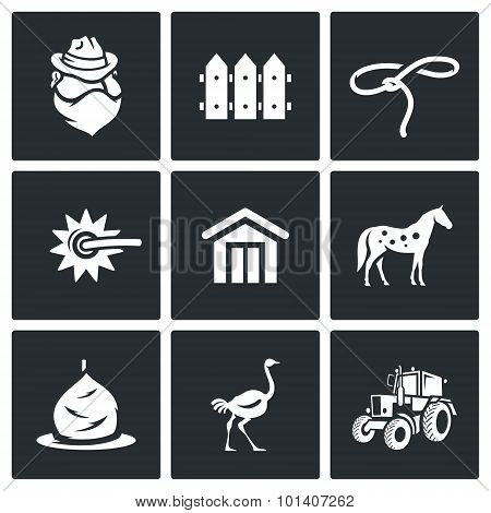 Cowboy ranch icons set. Vector Illustration. Isolated Flat Icons collection on a black background for design