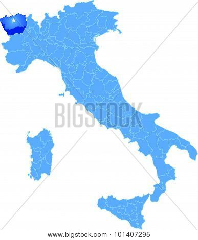 Map Of Italy, Aosta Province