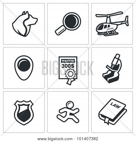 Search, prosecution escaped convict icons set.  Illustration. Vector Isolated Flat Icons collection on a white background for design