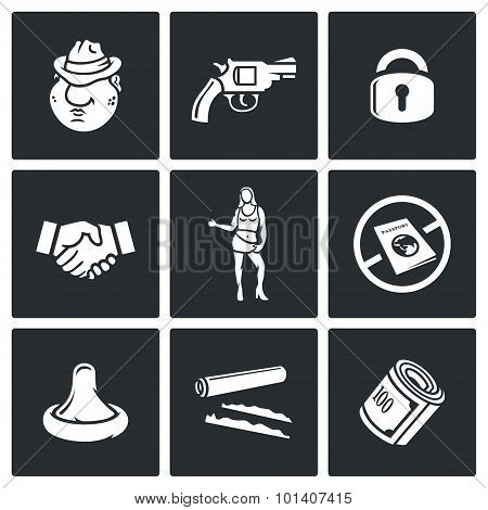 Crime and the slave trade icons set. Vector Illustration. Isolated Flat Icons collection on a black background for design