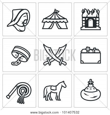 Mongol-Tatar yoke icons set. Vector Illustration. Vector Isolated Flat Icons collection on a white background for design