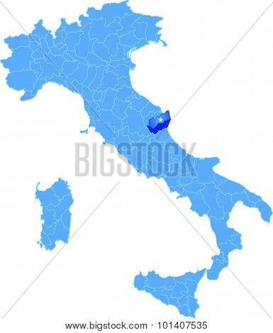 Map Of Italy, Ascoli Piceno Province