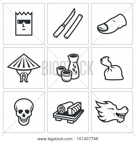 Yakuza, Japans organized crime icons set. Vector Illustration. Vector Isolated Flat Icons collection on a white background for design