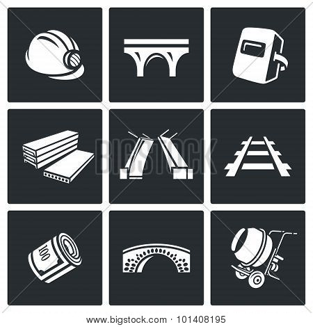 Bridge Construction Icons Set. Vector Illustration.