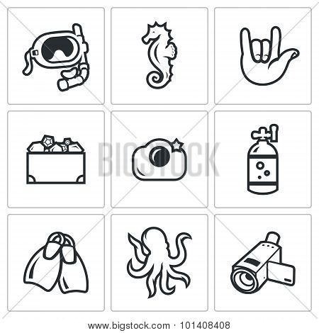 Diving icons set. Vector Illustration. Vector Isolated Flat Icons collection on a white background for design