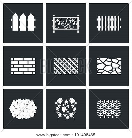 Collection Of Fences From Different Materials Icons Set. Vector Illustration.