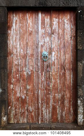 Vintage wooden door with metallic handle knocker