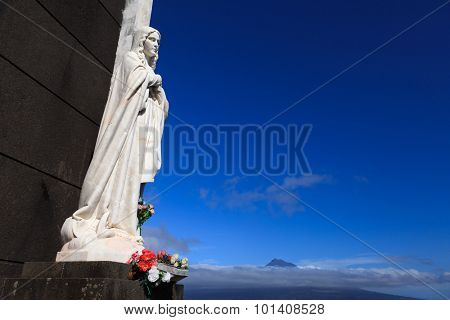 Statue of saint on Faial Island, Azores, Portugal
