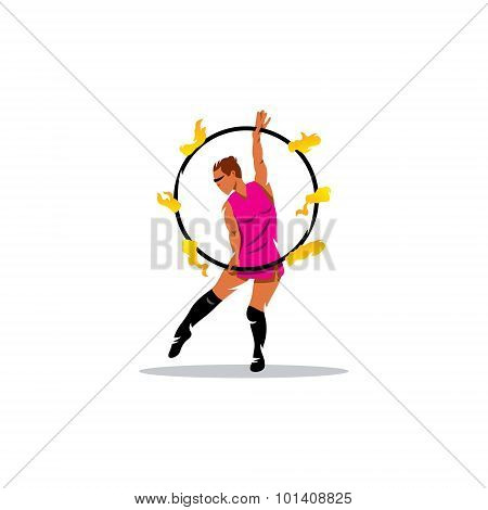 Fakir Show Sign. Girl With Flaming Hoop. Vector Illustration.